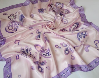 Violet silk scarf handpainted Square silk scarves Gift for women, handpainted square silk scarf, purple flowers, silk scarf stripes