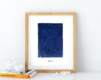 Draco constellation, printable wall art, stars, cosmos, astronomy, zodiac