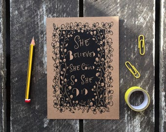 She belived she could so she did postcard, floral postcard, motivational postcard, typographical postcard, gifts for her