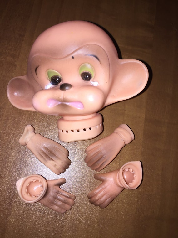 Vintage Crying Monkey Doll Head with Hands and Feet Dollmaking Supplies NOS H4