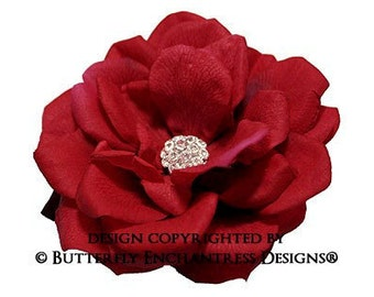 Red Hair Flower, Bridal Hair Accessories, Rustic Woodland Wedding - Rhinestone Dk Red Natalia Rose Bridal Hair Flower Clip