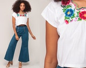 Mexican EMBROIDERED Blouse Crop Top Hippie Boho FESTIVAL Cotton Bohemian White Floral Vintage Ethnic Cropped Tent Shirt Retro Small Medium