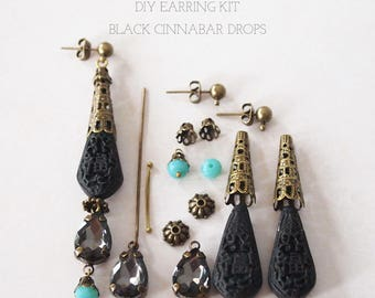 Cinnabar Dangle Earring Kit Jewelry Making DIY Make A Unique Pair Of Black Cinnabar Dangle Earrings All Components Included