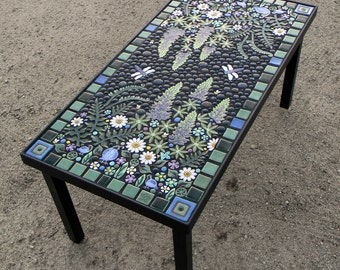 Rectangle, Lupine Quail Floral Mosaic Table.