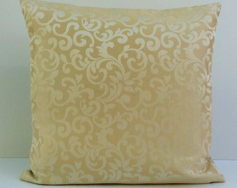 Beige Cream Pillow, Throw Pillow Cover, Decorative Pillow Cover, Cushion Cover, Pillowcase, Accent Pillow, Toss Pillow, Satin Blend, Pattern