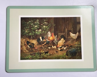 Placemats farm, rooster and hens