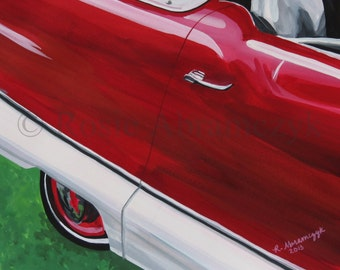 1959 Nash Metropolitan, Gouache Painting, Art Print (by Rosie Abramczyk) SALE!