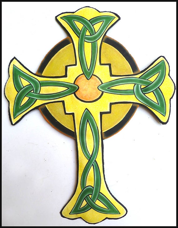 Celtic Cross Wall Hanging Painted Metal Wall Decor Christian