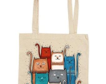 Tote Bag / Shopping Bag - Cat. Cats - 100% Eco-Friendly Organic Cotton. Bear bag