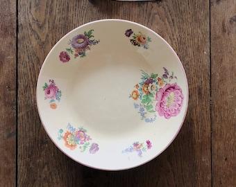 Large Vintage French Floral Ceramic Bowl / Vintage Serving Bowl / Dinner Bowl / Shabby Chic Bowl / Rustic Bowl / French Farmhouse Decor