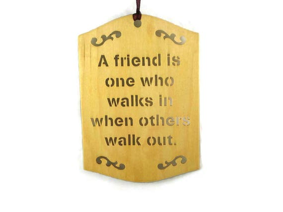 Friend Wall Hanging Plaque Handmade From Birch Wood