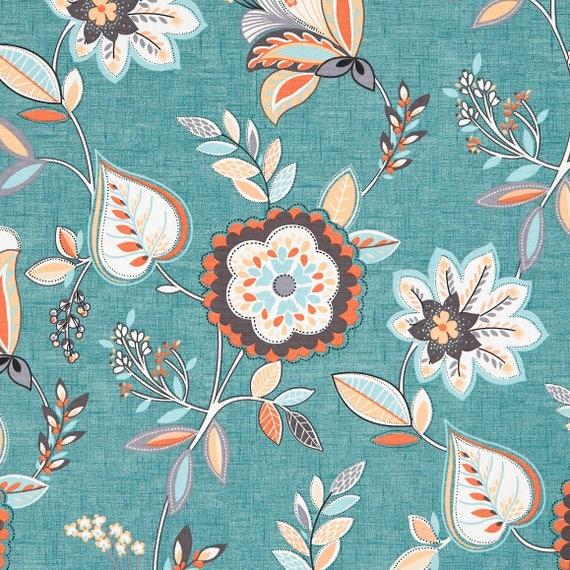 Teal Orange Floral Upholstery Fabric Light Blue Floral