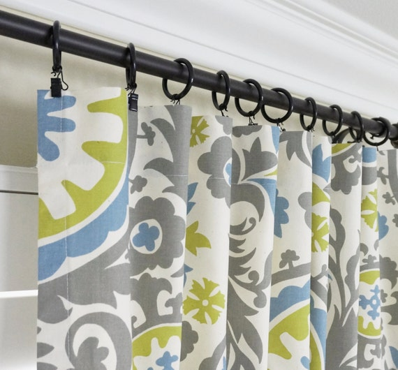 Brand-new Blue and Grey Curtain Panels.Olive Green Window Curtains.Blue EX47