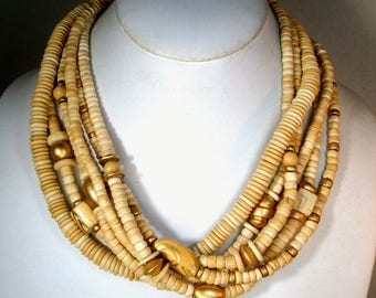 Cream Color Multistrand Resin Bead Necklace, 1980s, Gold Painted Accent Beads, Subtle Earthy Statement Necklace, Lightweight, 6 Strands
