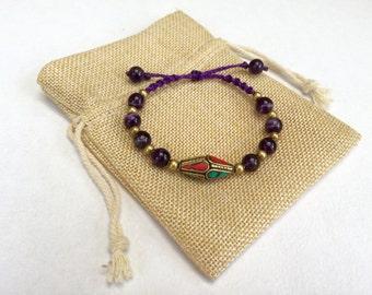 Bracelet With Amethyst - Brass - Handmade Macrame (With Adjustable Slipknot)