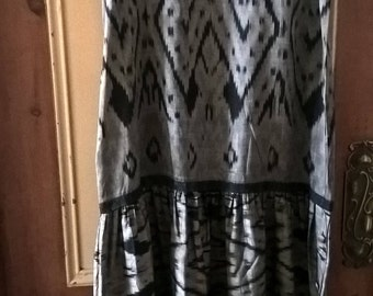 1990s handwoven silk Ikat dress
