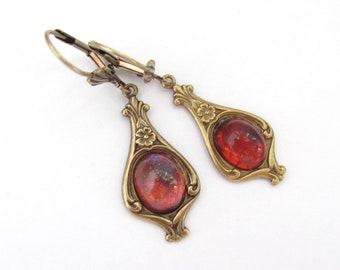 Dragons Breath Earrings, Art Nouveau, Red Flash Blue Neo Victorian Dangle Drops, Art Deco Earrings, Hawaii Jewelry