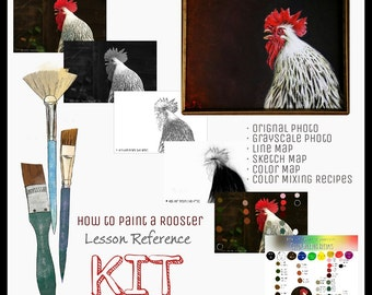 How to Paint a Rooster - Lesson Reference Kit - by Her Art from the Attic