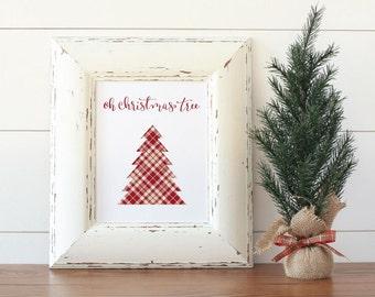 Christmas Printable Art, Oh Christmas tree, Calligraphy print, Christmas decor, Holiday print, Art Print Instant Download
