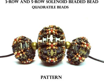 Solenoid beaded bead - QuadraTile beads - PDF beading pattern - Instant Download