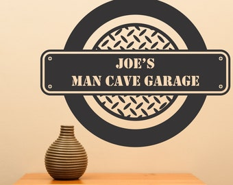 Personalize Man Cave Garage decal....Sharp decal motivational home decor