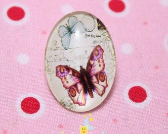 Glass cabochon oval Butterfly rose18 pattern / 25mm