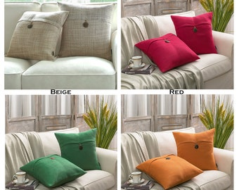 Set of 2 PILLOW Covers, Decorative Pillow, 18x18,Throw Pillow, Covers,Cushion,Button Throw pillow Case,Various Color