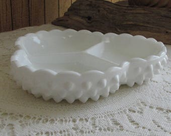 Vintage Fenton Hobnail Milk Glass Dish Divided Relish Tray (1970s)