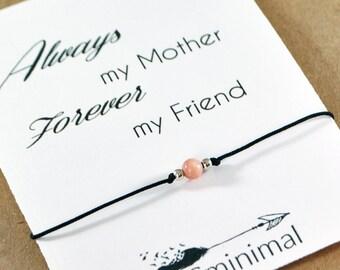 Mother Bracelet. Pink Opal Bead Bracelet. Stone Silver Wish Bracelet. Gift for Mother. Mom Mama Mum Gift. Mothers Day Gift. Minimal Bracelet
