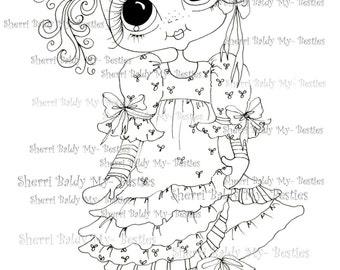 INSTANT DOWNLOAD Digital Digi Stamps Big Eye Big Head Dolls Viola Violet Bestie By Sherri Baldy