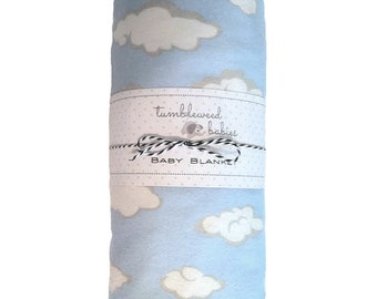 Fluffy Clouds Flannel Baby Receiving Blanket /Swaddle Blanket/Newborn Flannel Blanket