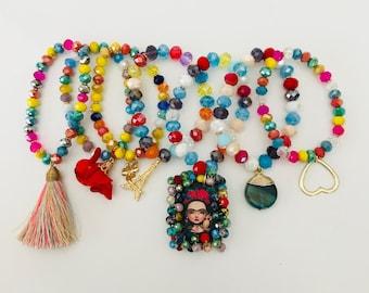 Bundle bracelets semanarios de corazon de cristal Frida Kahlo