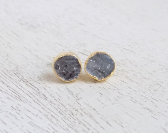 Geode Stud Earrings, Gray Gemstone Earrings, Round Druzy Earrings, Natural Druzy Studs, Drussy, Small Stone Posts, Gold Posts, Gift, G7-753