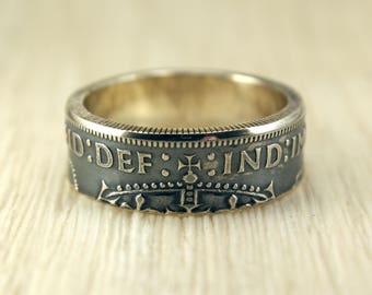 Silver Coin Ring (Great Britain) with Crown