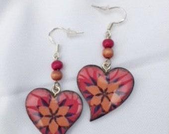 Handmade, handpainted decoupage wooden heart earrings