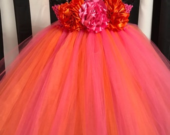 Shocking Pink & Orange  Couture Flower Girl Tutu Dress/ Pageant Attire/Tutu Dress