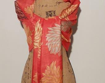 Orange peach floral like beaded shawl or scarf wrap