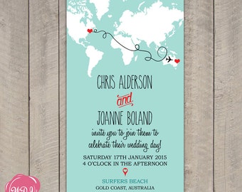 Travel Map World Etsy - Travel wedding invitations template