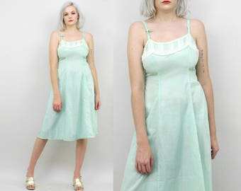 50s Mint Slip Dress with White Lace, Vintage Sea Foam, Pastel Blue Green, Size Medium Small, Knee Length Full Slip, Rayon, Lingerie