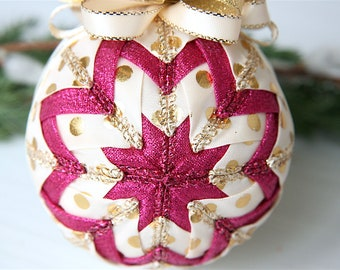 Quilted Christmas Ornament Ball-Gold-Cream-Pink-Wild Dots