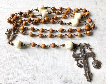 Rosary wirewrapped Bronze olive wood Holy Land Doves and hearts Sun and Moon crucifix wedding rosary catholic Jewelry by Rosenkranz-Atelier