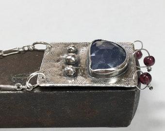Tanzanite and Garnet necklace,Tanzanite,Garnet beads,Maggie's Meltdown,maggiesmeltdown,statement necklace, tanzanite necklace