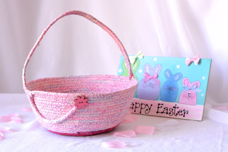 Girl easter basket handmade pink batik basket gorgeous fiber girl easter basket handmade pink batik basket gorgeous fiber pottery basket flower girl basket easter bucket artisan quilted mightylinksfo