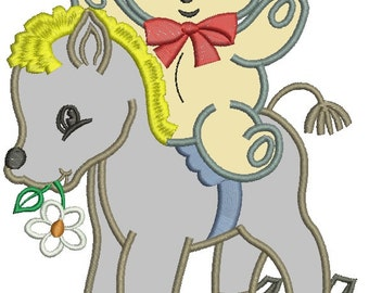 Rocking horse and a teddy bear applique Machine Embroidery Design