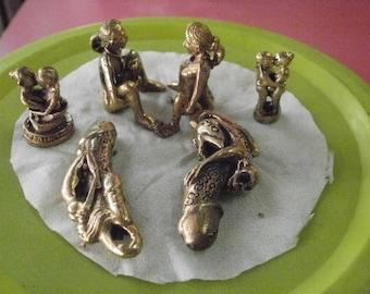 Super Erotic Love Charm Set Holy Power Magic Brass Statue Amulet Pendant Love Attractive