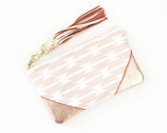 Aztec Clutch Purse, Rose Gold Leather Clutch, Zippered Pouch, Blush Tribal Bag, Small Leather Clutch , Aztec Clutch