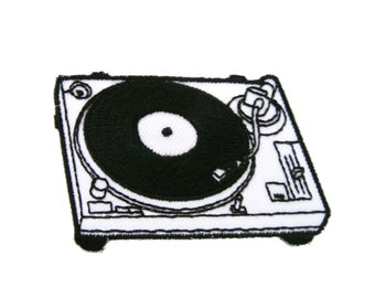 Phonograph Turntable Record Player Embroidered Iron on Applique Patches