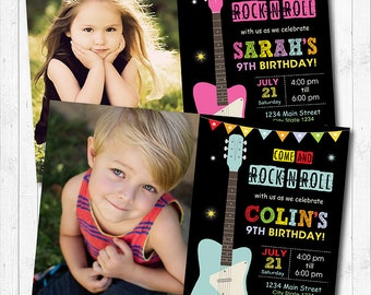 Guitar Invitation, Rock n Roll Invitation, Guitar Invite, Rock Invitation, Rock Star invitation, printable, Photo Invitation