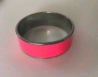 Hot Pink Silver Tone Bangle Bracelet