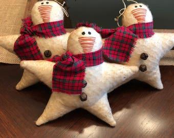 Primitive Christmas  Snowman Star Ornie Ornament Set - Christmas Decor - Snowman Decor - Snowman Ornament - Handmade - Star - Snowman